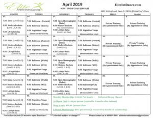 April 2019 Class Schedule